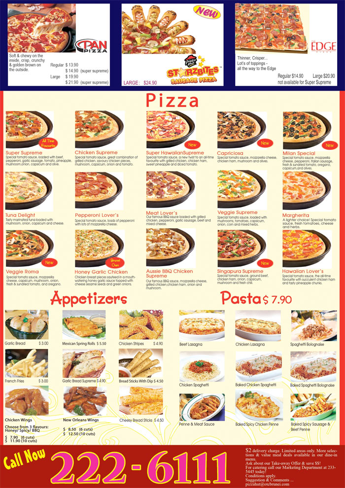Pizza Hut New Menu *click image to enlarge*